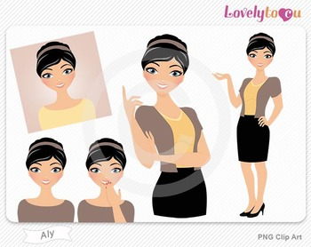 Woman graphics character pack set PNG clip art (Aly R01)