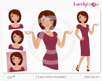 Woman graphics character pack set PNG clip art (Dana R07)