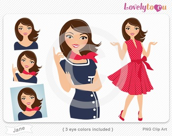 Woman graphics character pack set PNG clip art (Jane R05)