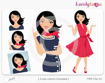 Woman graphics character pack set PNG clip art (Jazz R05)