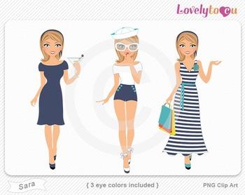 Woman graphics character pack set PNG clip art (Sara R04)