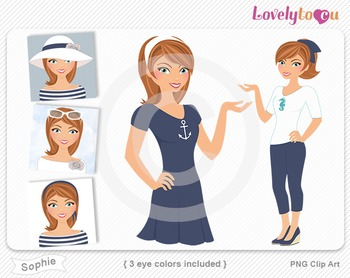 Woman graphics character pack set PNG clip art (Sophie R03)