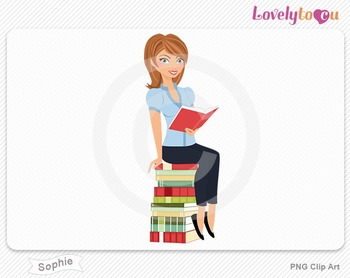 Woman sitting on book stack reading PNG clip art (Sophie 502)