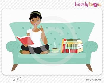 Woman sitting on sofa reading a book PNG clip art (Amara 512)