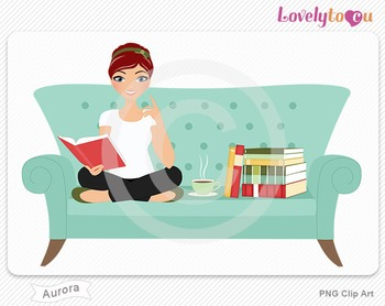 Woman sitting on sofa reading a book PNG clip art (Aurora 512)