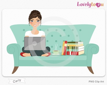 Woman sitting on sofa with laptop computer PNG clip art (C