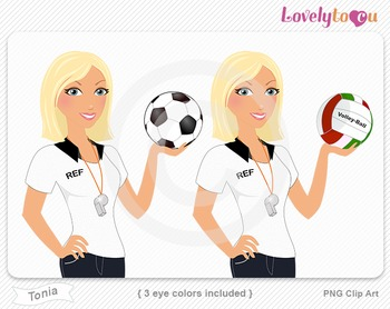 Woman sports referee soccer and volleyball PNG clip art (T