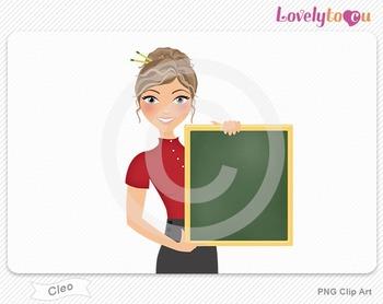 Woman teacher holding chalkboard PNG clip art (Cleo 447)