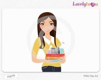 Woman teacher of math and science PNG clip art (Hana 598)