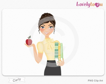 Woman teacher with books and apple PNG clip art (Carly 445)