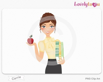 Woman teacher with books and apple PNG clip art (Carrie 445)
