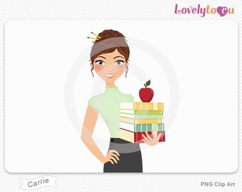 Woman teacher with books and apple PNG clip art (Carrie 446)