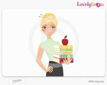 Woman teacher with books and apple PNG clip art (Chloe 446)
