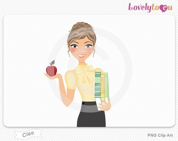 Woman teacher with books and apple PNG clip art (Cleo 445)