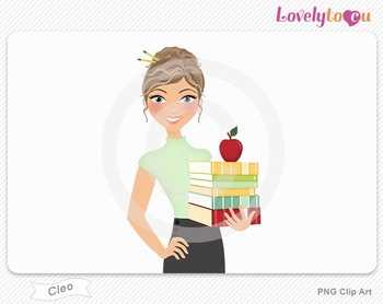 Woman teacher with books and apple PNG clip art (Cleo 446)