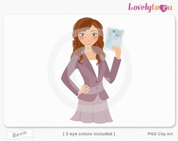 Woman teacher with ipad PNG clip art (Bevin 627)