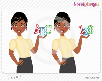 Woman teacher with math and alphabet symbols PNG clip art