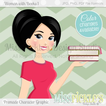 Woman with Books 1, Teacher Avatar- Commercial Use Charact