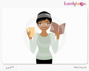 Woman with book and coffee PNG clip art (Amara 634)