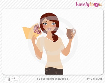 Woman with book and coffee PNG clip art (Gina 632)