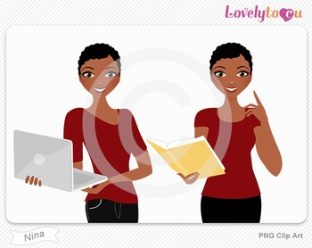 Woman with book and laptop PNG clip art (Nina 600)
