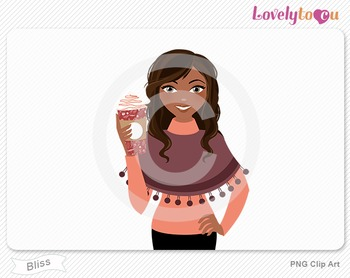 Woman with coffee cup PNG clip art (Bliss 622)