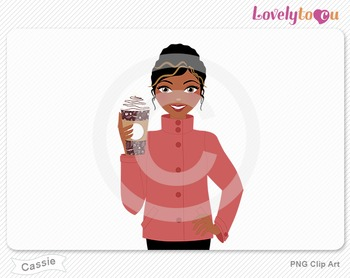 Woman with coffee cup PNG clip art (Cassie 623)
