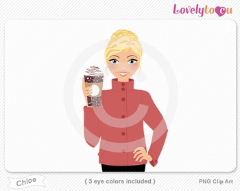 Woman with coffee cup PNG clip art (Chloe 623)