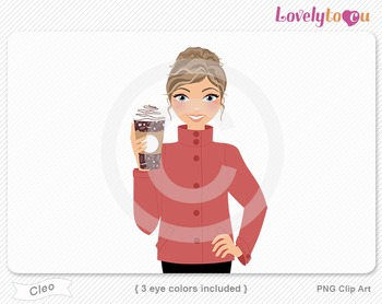 Woman with coffee cup PNG clip art (Cleo 623)