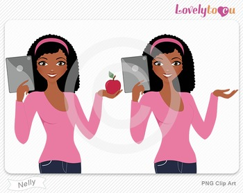 Woman with ipad and apple PNG clip art (Nelly 609)