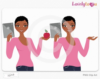Woman with ipad and apple PNG clip art (Nina 609)
