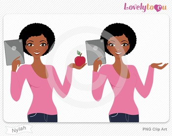 Woman with ipad and apple PNG clip art (Nylah 609)