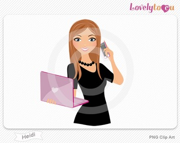 Woman with laptop and cell phone PNG clip art (Heidi 506)