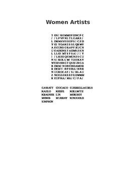 Women Artists Art Wordsearch Word Search