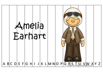 Women History Amelia Earhart themed Alphabet Sequence Puzz