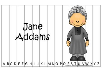 Women History Jane Addams themed Alphabet Sequence Puzzle.