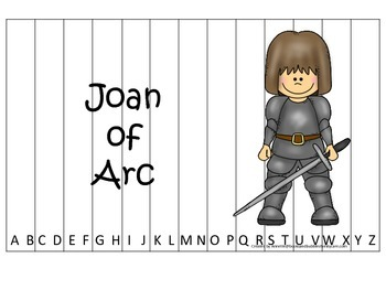 Women History Joan of Arc themed Alphabet Sequence Puzzle.