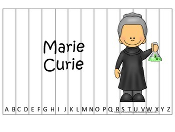 Women History Marie Curie themed Alphabet Sequence Puzzle.