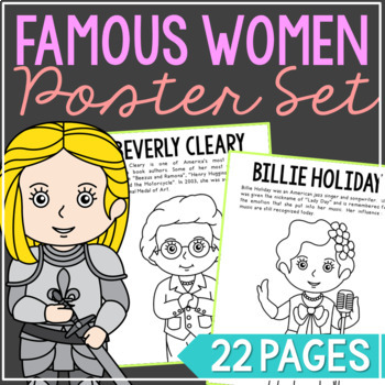 Women in History Biography Coloring Pages or Posters, Wome