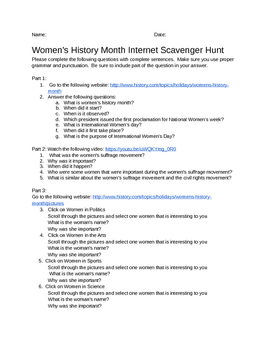 Women's History Month Internet Scavenger Hunt