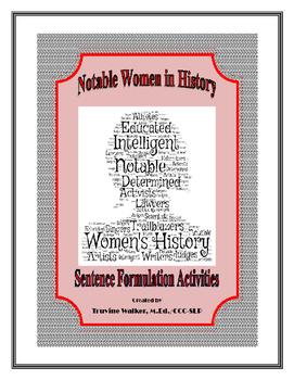 Women's History Sentence Formulation Packet (Common Core Aligned)