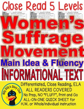 Women's Suffrage Movement FACTS 5 levels Close Read Differ