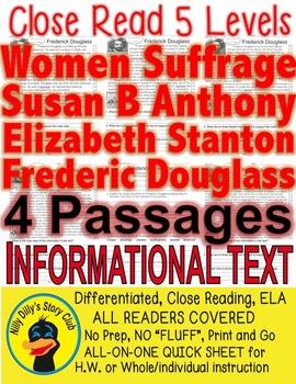 Women's Suffrage Susan B, Elizabeth S, Frederick D, 4 Pass