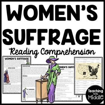 Women's Suffrage Reading Comprehension Worksheet, DBQ, Civ