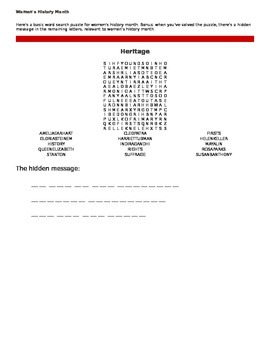 Women's Word Search (March)