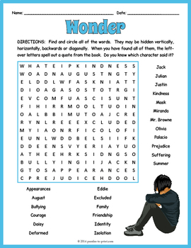 Wonder Word Search Puzzle