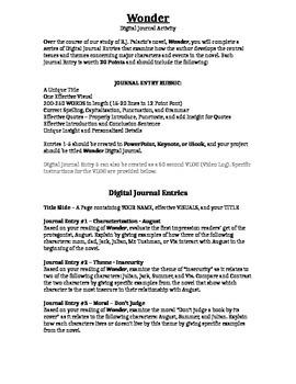 Wonder - Digital Journal Activities