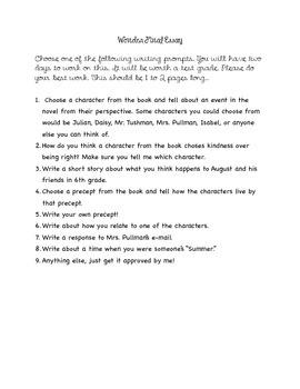 Wonder Final Essay Multiple Prompts
