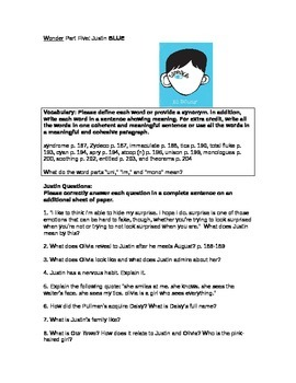 Wonder Novel Justin Chapter Vocabulary and Questions