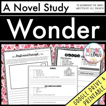 Wonder Novel Study Unit: comprehension, vocabulary, activi